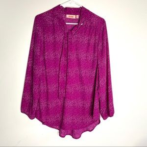Evri Pink mini dot Print Tie-Neck Blouse
